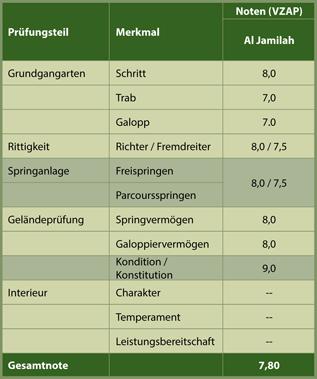 Einzelnoten des Hengstes Al Jamilah an der HLP des VZAP