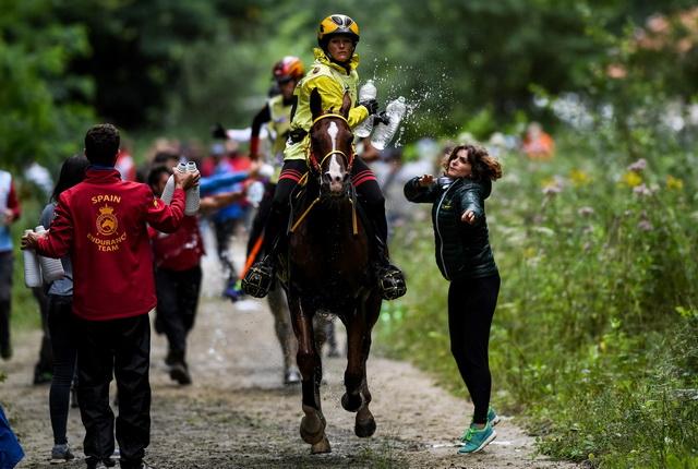 Sabrina Arnold und Tarzibus auf dem Weg zur GoldmedailleFoto: FEI  /Martin Dokoupil