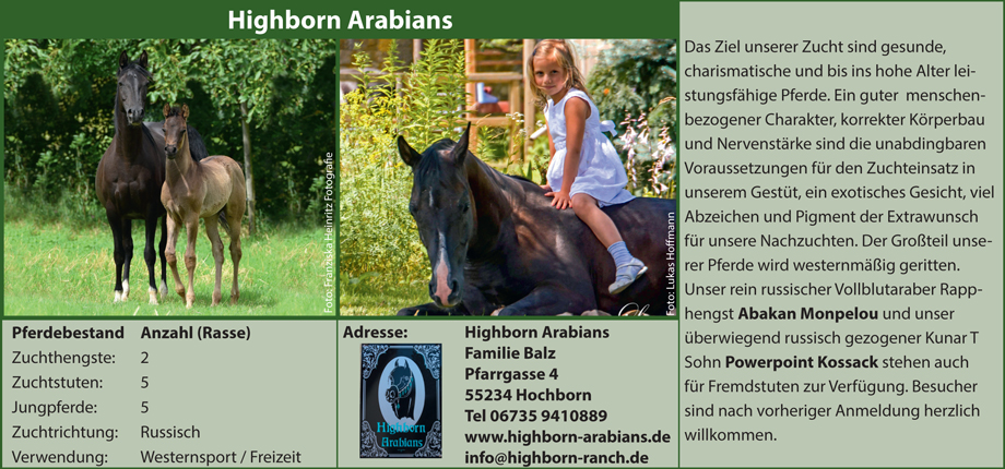 Highborn Arabians - Familie Balz